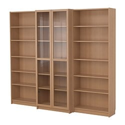BILLY bookcase combination with doors, beech veneer Width: 240 cm Min. depth: 28 cm Max. depth: 39 cm