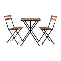 TÄRNÖ table+2 chairs, outdoor, grey-brown stained steel, black acacia