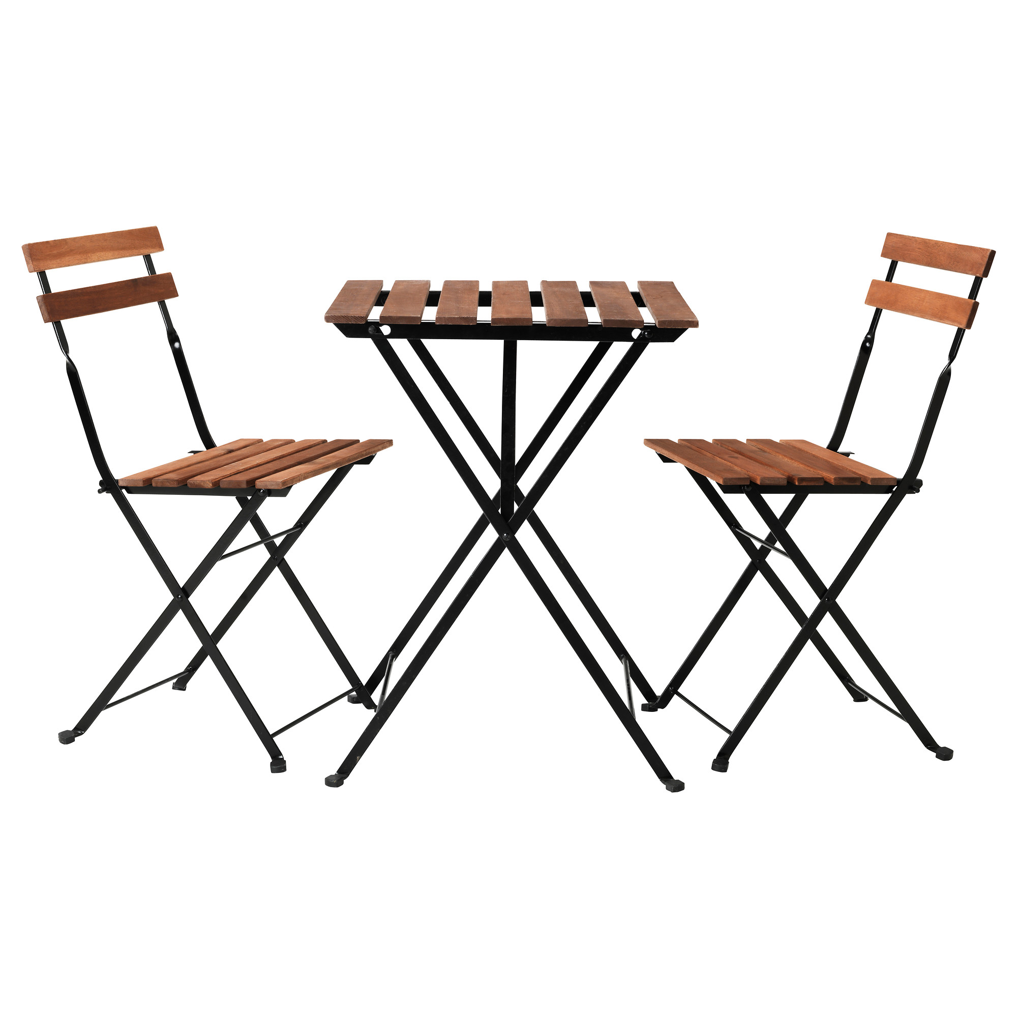 TÄrnÖ Table 2 Chairs Outdoor Black Acacia Steel Gray Brown Stained