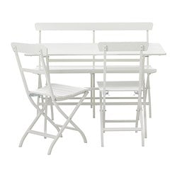 MÄLARÖ table, bench and 2 armchairs, white
