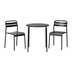 ROXÖ table and 2 chairs, grey