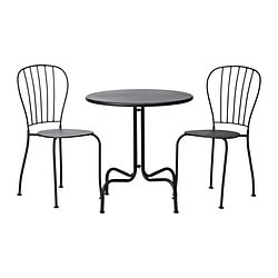 LÄCKÖ table+2 chairs, outdoor, grey