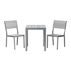 FALSTER table and 2 chairs, grey