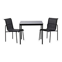 GARPEN table and 2 chairs, black