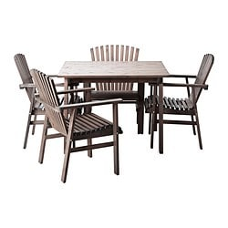 SUNDERÖ table and 4 chairs, grey, pine