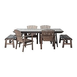SUNDERÖ table, 2 benches and 4 chairs, grey, pine