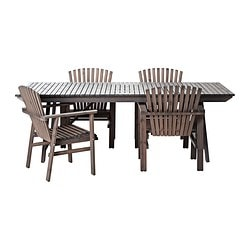 SUNDERÖ table+4 chairs, outdoor, grey stained