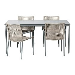 ENHOLMEN table and 4 chairs, beige