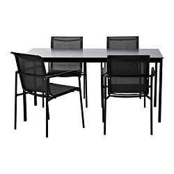 GARPEN table and 4 chairs, black