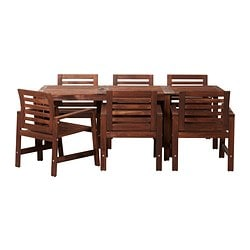 ÄPPLARÖ table+6 chairs w armrests, outdoor, brown brown stained
