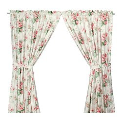 EMMIE curtains with tie-backs, 1 pair, multicolour Length: 300 cm Width: 145 cm Weight: 1.00 kg