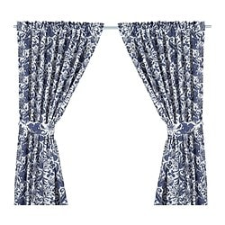 EMMIE KVIST curtains with tie-backs, 1 pair, blue Length: 300 cm Width: 145 cm Weight: 1.00 kg