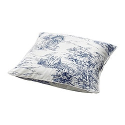 EMMIE LAND cushion cover, white/blue Length: 50 cm Width: 50 cm Filling weight: 1 g
