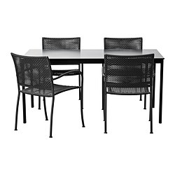 GARPEN/LÄCKÖ table and 4 chairs, grey, black