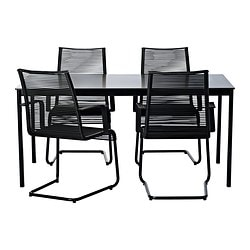 GARPEN/VÄSMAN table and 4 chairs, black