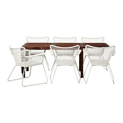 ÄPPLARÖ /  HÖGSTEN table+6 chairs w armrests, outdoor, white, brown brown stained