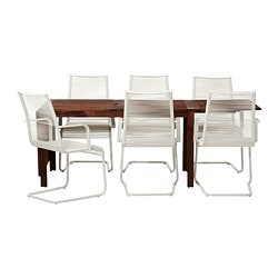 ÄPPLARÖ /  VÄSMAN table and 6 armchairs, white, brown
