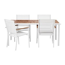 HASSELÖN table and 4 chairs with armrests, white, eucalyptus
