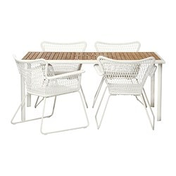 HASSELÖN/ HÖGSTEN table and 4 chairs, white, eucalyptus