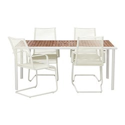 HASSELÖN/ VÄSMAN table and 4 chairs with armrests, white
