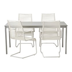 ENHOLMEN/ VÄSMAN table and 4 chairs, white, light grey