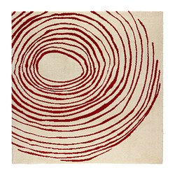 EIVOR CIRKEL rug, high pile, white, red Length: 200 cm Width: 200 cm Thickness: 18 mm