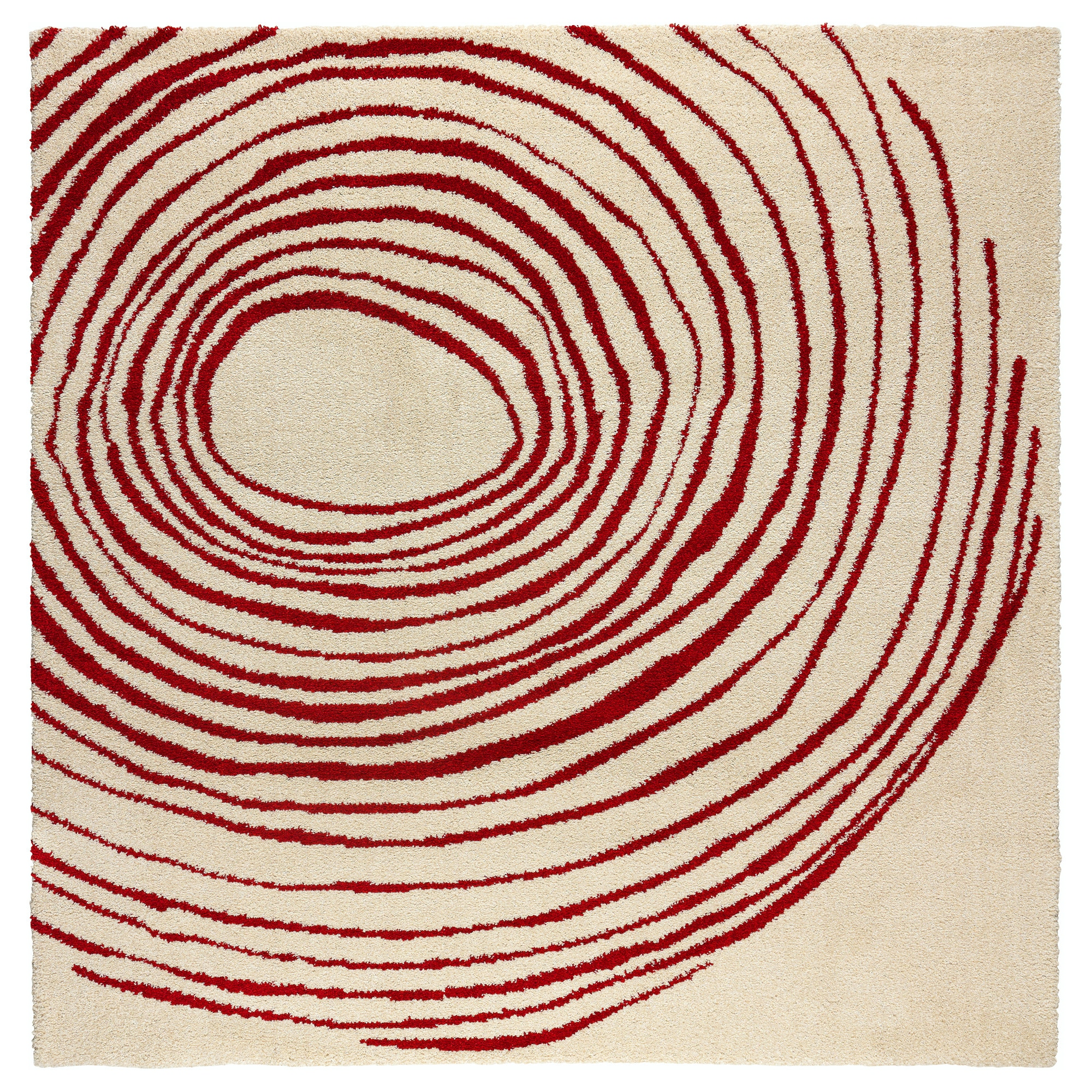 Eivor Cirkel Rug, High Pile, White, Red Length: 6 ' 7