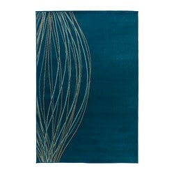 MALIN BLAD rug, low pile, turquoise Length: 195 cm Width: 133 cm Surface density: 2100 g/m²