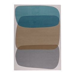 MALIN FIGUR rug, low pile, turquoise Length: 240 cm Width: 176 cm Surface density: 2530 g/m²