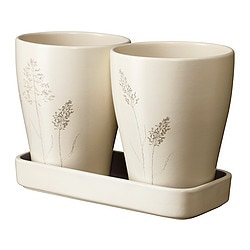 NÖJD 2 plant pots with 1 tray, patterned beige Outside diameter: 12 cm Max. diameter flowerpot: 10.5 cm Height: 15 cm