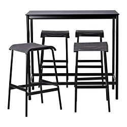GARPEN table de bar+4 tabourets, noir