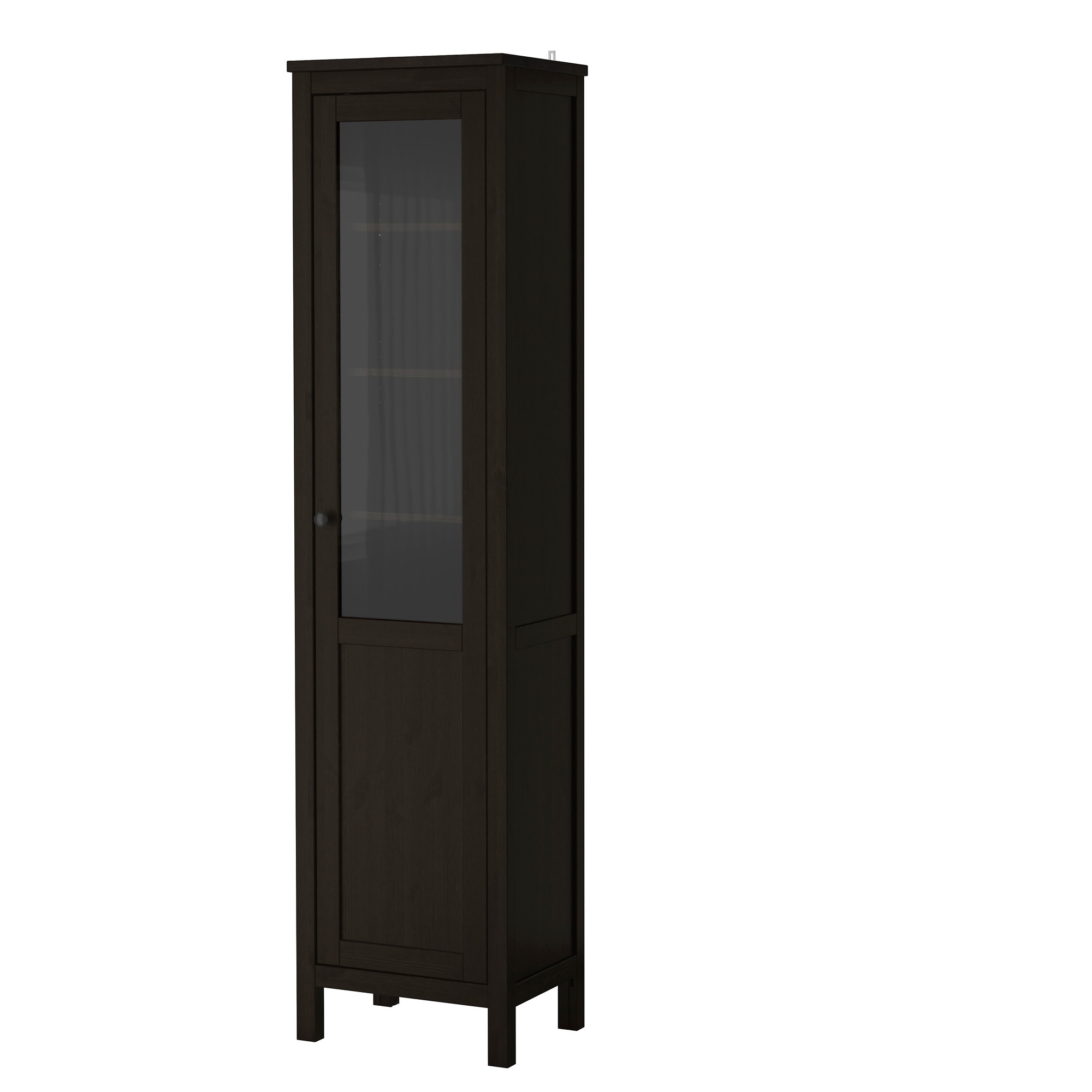 HEMNES cabinet with panel/glass door, black-brown Width: 19 1/