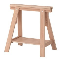 FINNVARD trestle with shelf, beech Width: 46 cm Depth: 70 cm Min. height: 71 cm