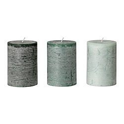 "FÖRSÖKA scented block candle, green Diameter: 2 ¾ "" Height: 4 "" Burning time: 30 hr Diameter: 7 cm Height: 10 cm Burning time: 30 hr"