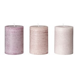 "FÖRSÖKA scented block candle, pink Diameter: 2 ¾ "" Height: 4 "" Burning time: 30 hr Diameter: 7 cm Height: 10 cm Burning time: 30 hr"