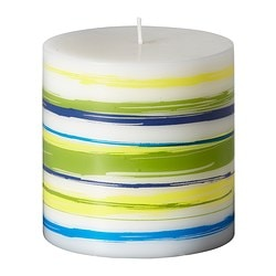 "JÄBBIG unscented block candle, blue-green Diameter: 3 ½ "" Height: 3 ½ "" Burning time: 30 hr Diameter: 9 cm Height: 9 cm Burning time: 30 hr"