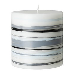 "JÄBBIG unscented block candle, gray/black Diameter: 3 ½ "" Height: 3 ½ "" Burning time: 30 hr Diameter: 9 cm Height: 9 cm Burning time: 30 hr"