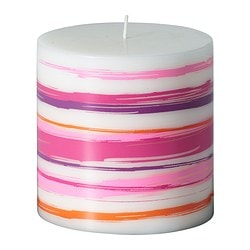 JÄBBIG unscented block candle, orange, pink Diameter: 9 cm Height: 9 cm Burning time: 30 hr