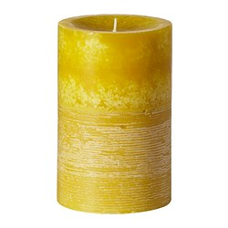 "VIFT scented block candle, yellow-green Diameter: 3 ½ "" Height: 5 ½ "" Burning time: 55 hr Diameter: 9 cm Height: 14 cm Burning time: 55 hr"