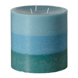 "VILLIG scented candle with 3 wicks, blue-turquoise Diameter: 5 ½ "" Height: 5 ½ "" Burning time: 50 hr Diameter: 14 cm Height: 14 cm Burning time: 50 hr"
