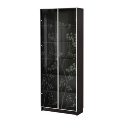 BILLY/ BILLY VALBO bookcase with glass-doors, black-brown Width: 80 cm Depth: 28 cm Height: 202 cm