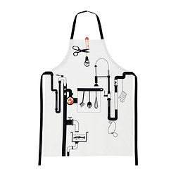 "ÅGOT apron, patterned white Length: 38 "" Length: 97 cm"
