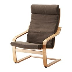 POÄNG armchair, Dansbo medium brown, birch veneer Width: 68 cm Depth: 82 cm Height: 100 cm