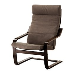 POÄNG armchair, Dansbo medium brown, black-brown Width: 68 cm Depth: 82 cm Height: 100 cm