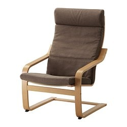 POÄNG armchair, Dansbo medium brown, oak veneer Width: 68 cm Depth: 82 cm Height: 100 cm