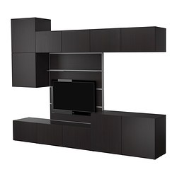 BESTÅ TV panel with media storage, black-brown Width: 300 cm Depth: 40 cm Height: 230 cm