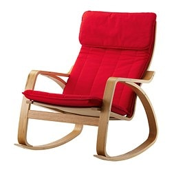 POÄNG rocking-chair, Alme medium red, oak veneer Width: 68 cm Depth: 94 cm Height: 95 cm