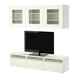 BESTÅ TV storage combination, white Width: 180 cm Depth: 40 cm Height: 38 cm