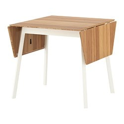 IKEA PS 2012 drop-leaf table, bamboo, white Length: 106 cm Min. length: 74 cm Max. length: 138 cm