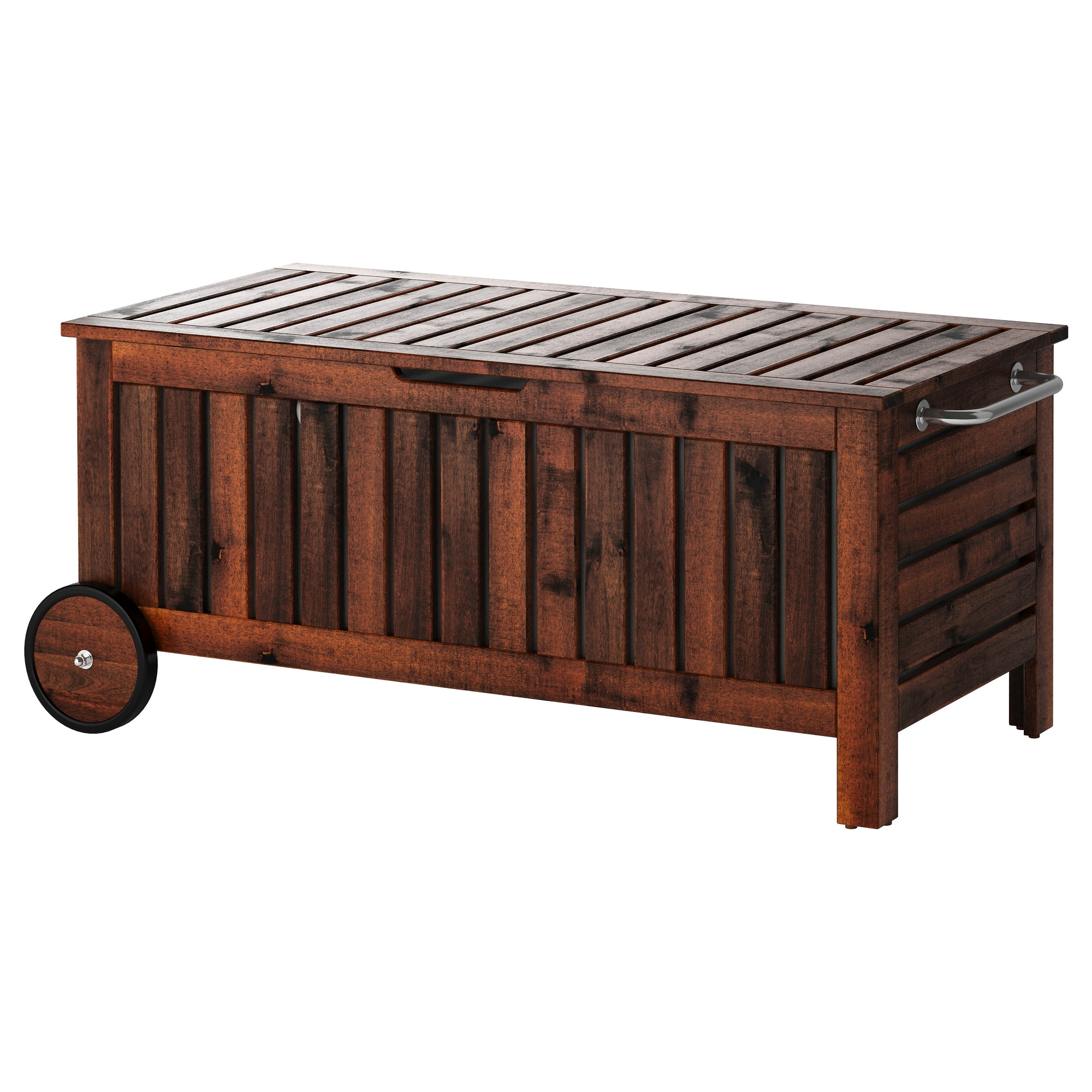 Modern log bench -  Pplar Storage Bench Outdoor Brown Brown Stained Width 50 3 8